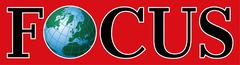 Das Logo des Nachrichtendienstes Focus, der über unsere schallisolierte Telefonzelle schreibt.