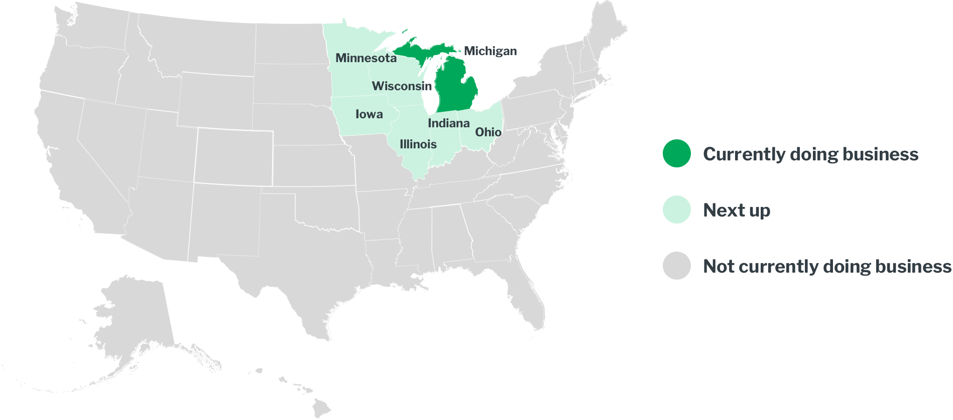 US Map of States with business status of each state highlighted