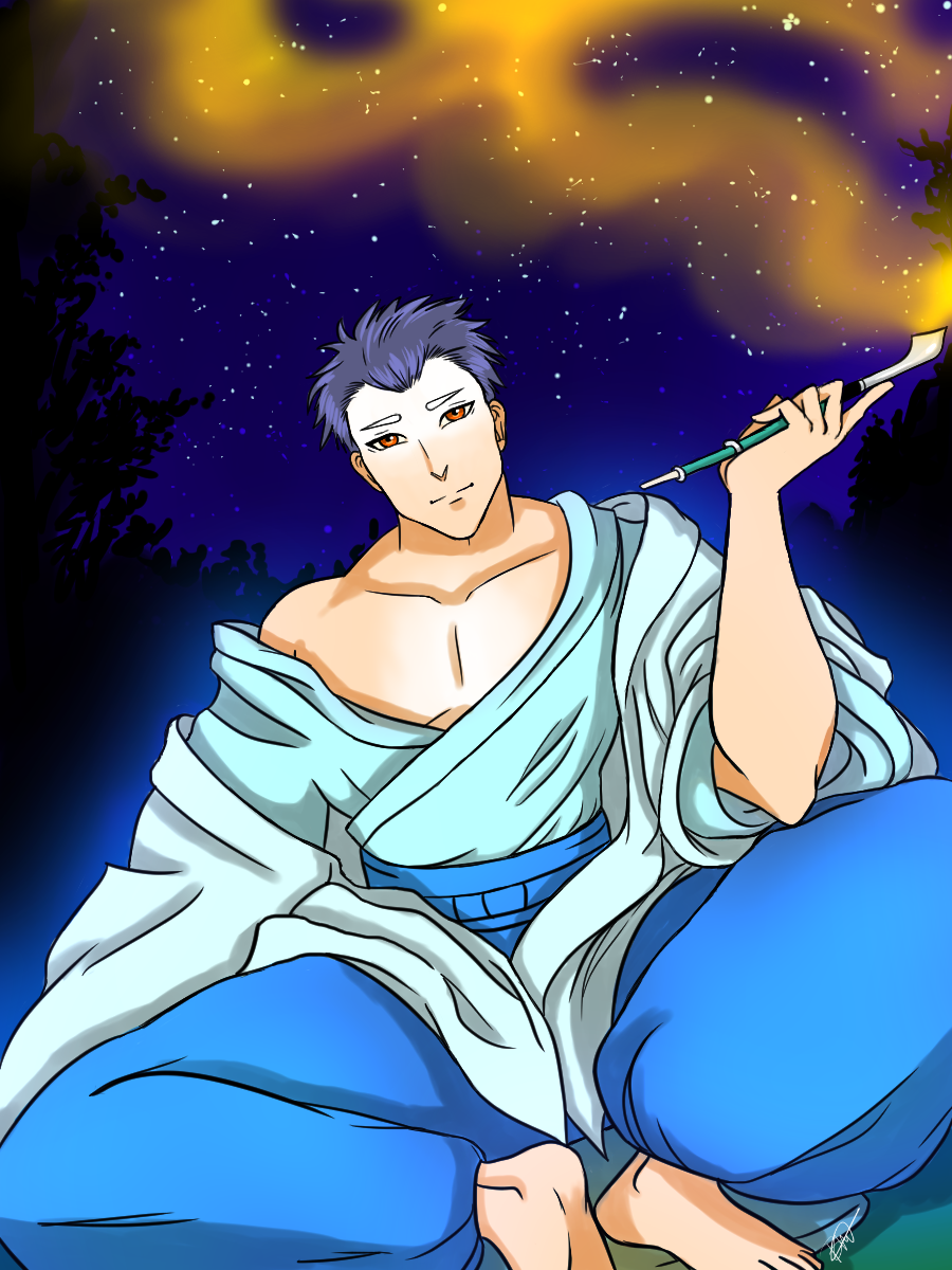A Japanese man with short pale blue hair and glowing blue traditional clothing. He is smoking a pipe and shimmering gold smoke is coming from his pipe.