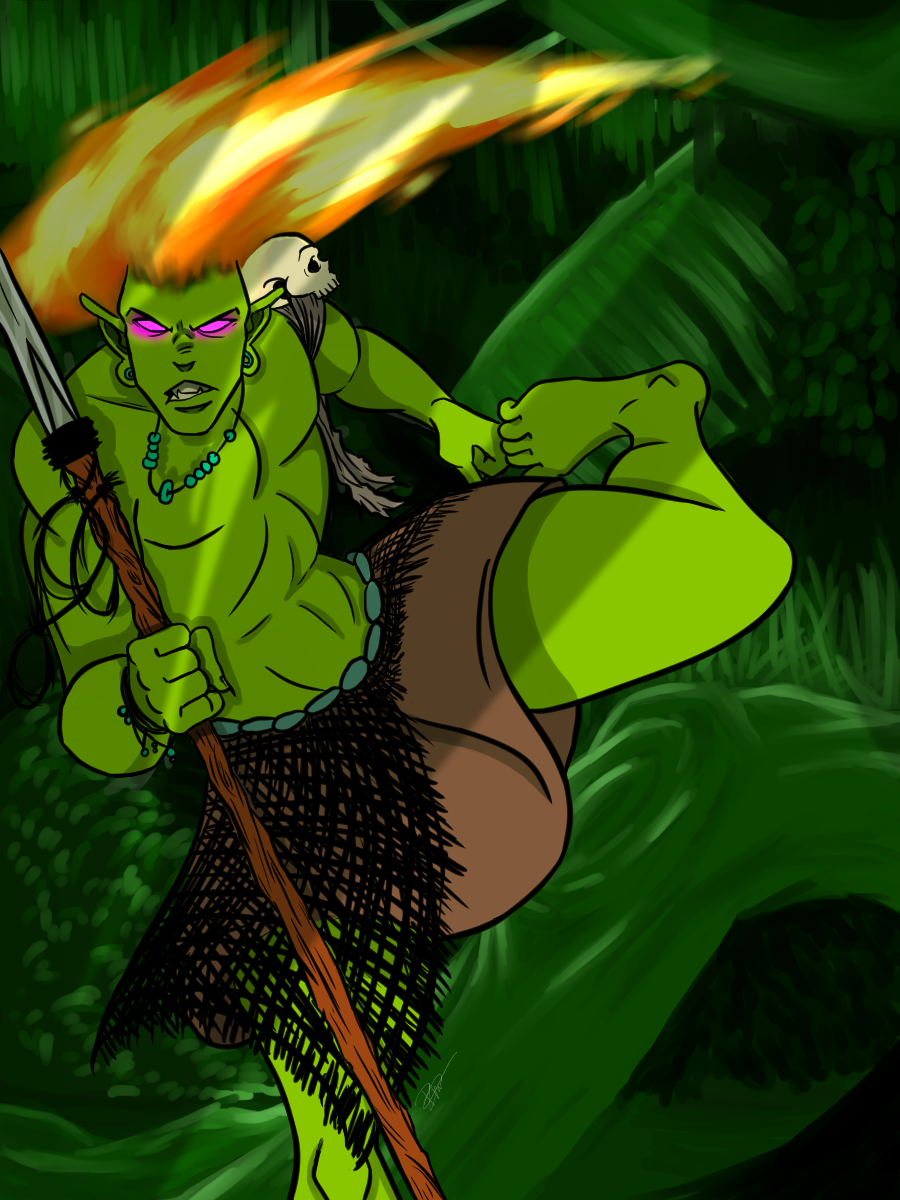 A man with green skin, long hair made of fire, and backwards facing feet. He is carrying a spear with poacher's snares on it and a poacher's skull as shoulder armor.