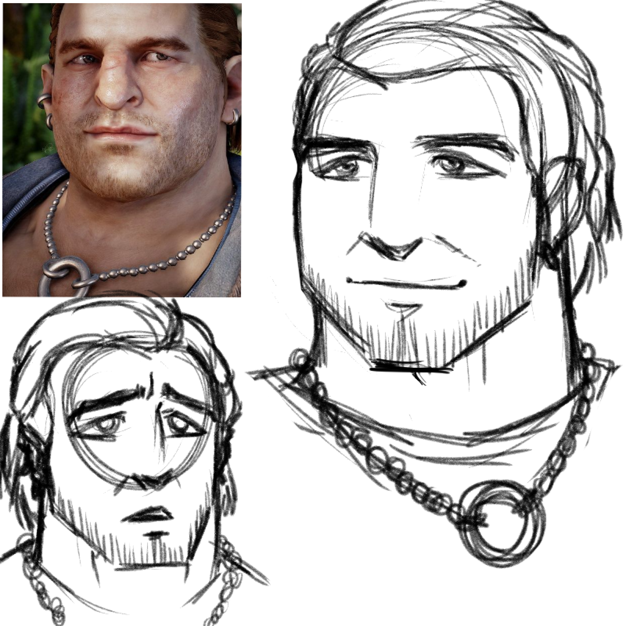 Varric Tethras from Dragon Age: Inquisition sketched in my manga and anime inspired art style.