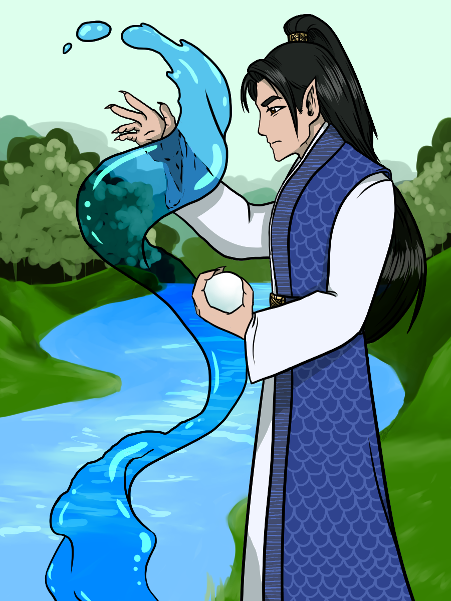 A Korean man dressed in traditional clothing with scale embroidery and long black hair. He's holding a giant white orb and is magically controlling a column of water.