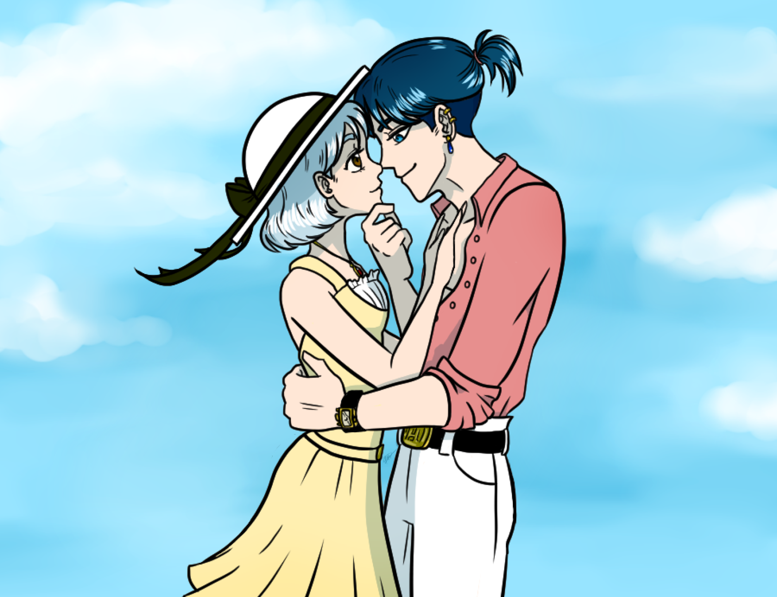 Sophie and Howl from Howl's Moving Castle wearing modern clothing drawn in my anime and manga inspired art style.