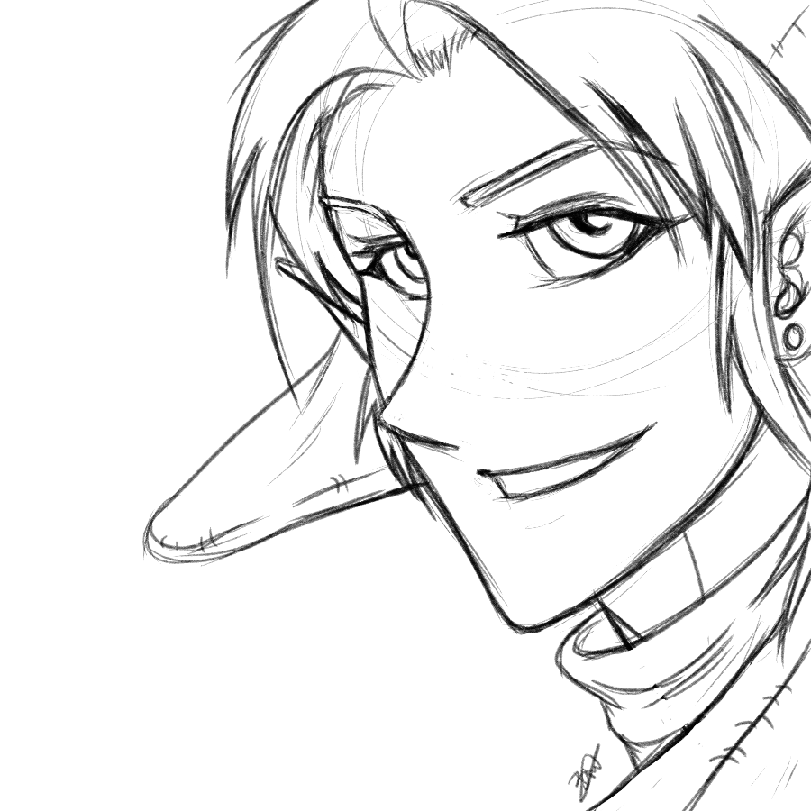Link from Legend of Zelda sketched in my anime and manga inspired art style.