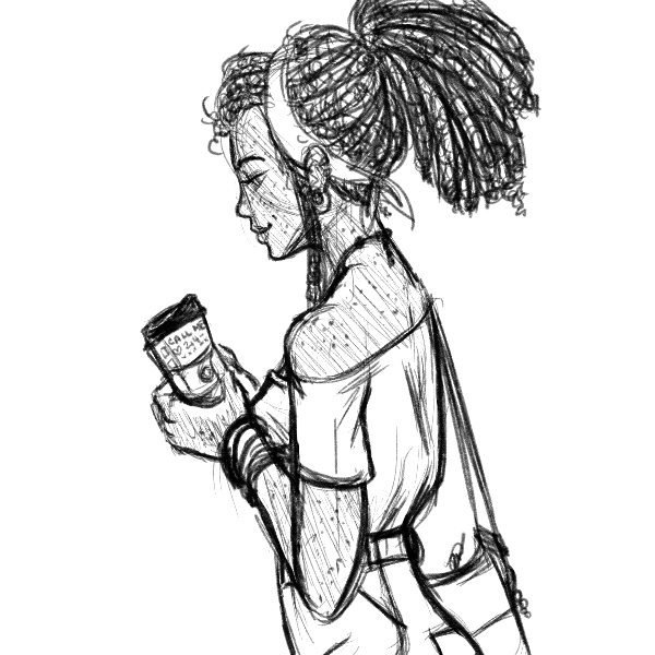 A beautiful woman with long dreadlocks in a ponytail wearing a crop top and jeans. She's reading a coffee cup fondly where a cute barista wrote his phone number.
