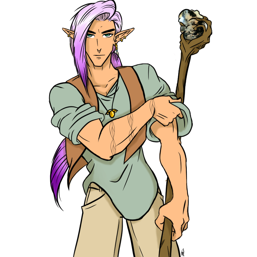 A handsome, serious male Elf with long purple hair. He's wearing cargo pants, a tunic, and a vest. He's carrying a staff that helps him cast Earth magic.
