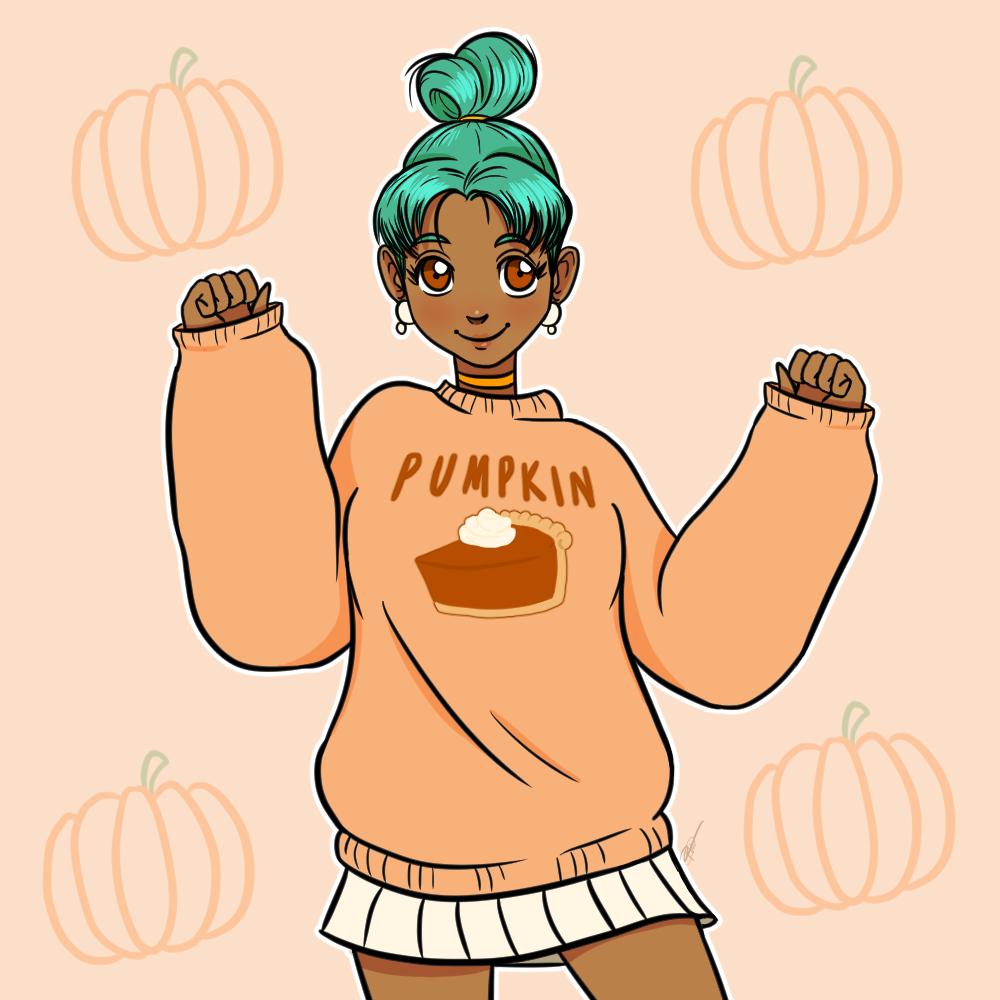 A cute, happy young woman with brown skin and turquoise hair styled in a bun. She's wearing an oversize pastel orange sweatshirt with a picture of pumpkin pie on it and a white mini skirt.