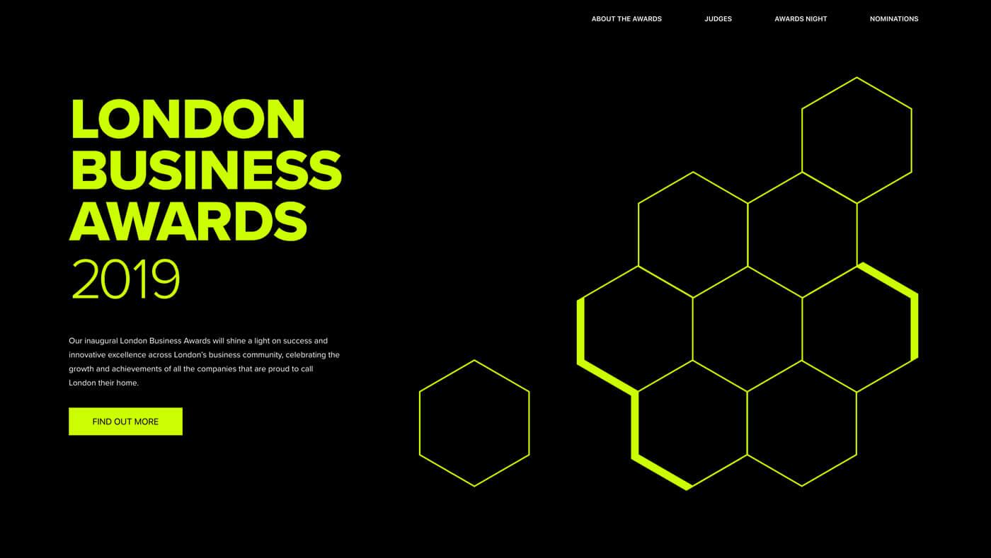 London Business Awards 2019 website screenshot