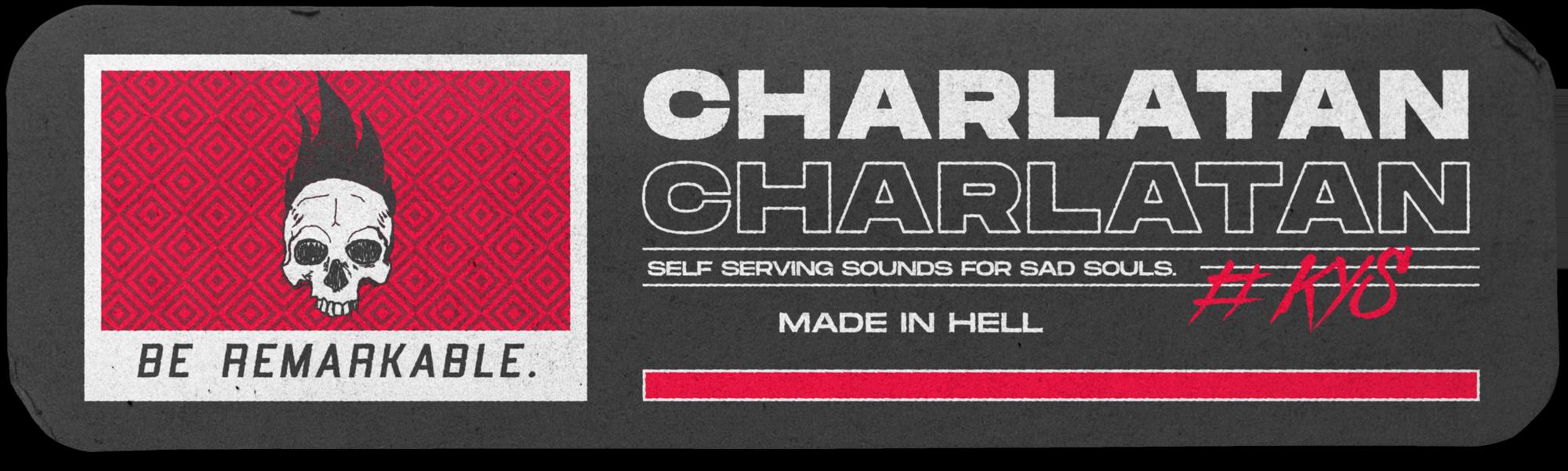 Charlatan banner that includes logo.