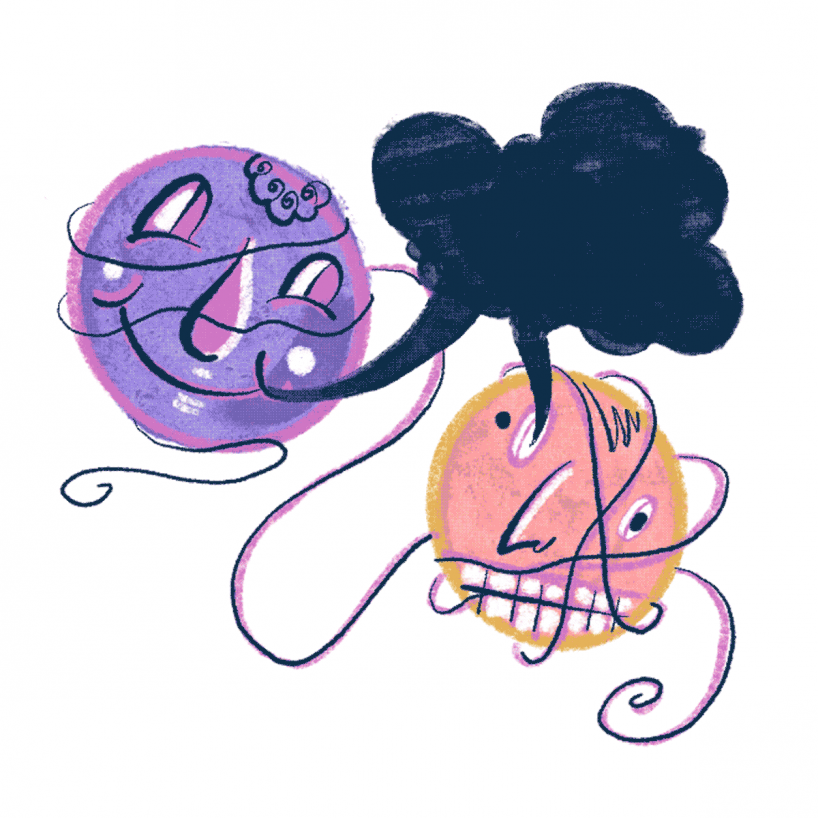 illustration of two faces with a grey speech bubble above them that they are both connected to.