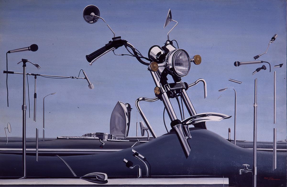 금속성시대의 은빛환상속에서︱194.0x130.3cm, Oil on canvas︱1982