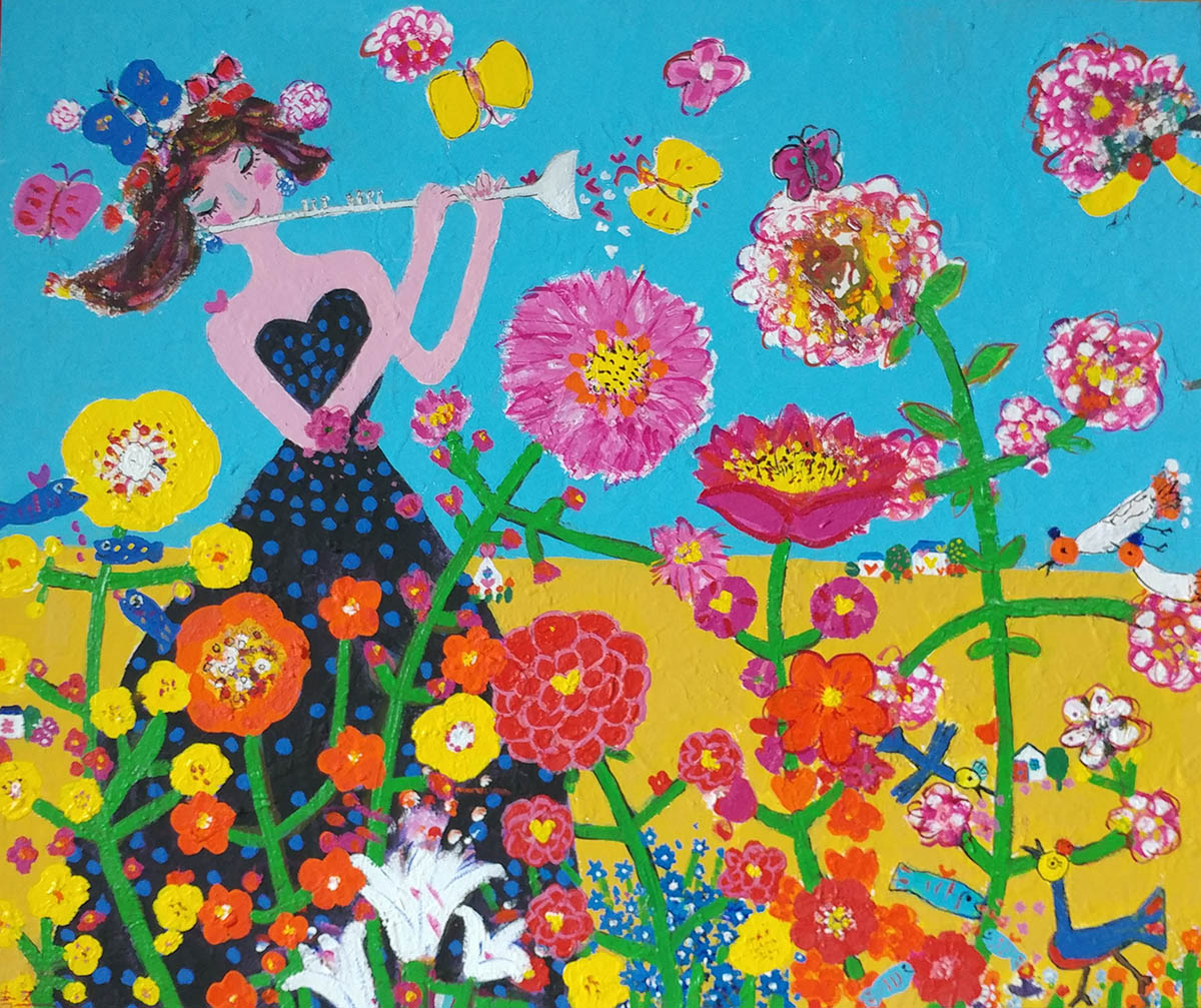 Happy Garden︱72.7x60.6cm, Mixed Media
