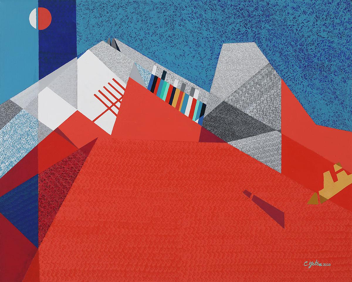 면과 색 그리고 리듬D︱90.9x72.7cm, Mixed media on canvas︱2020