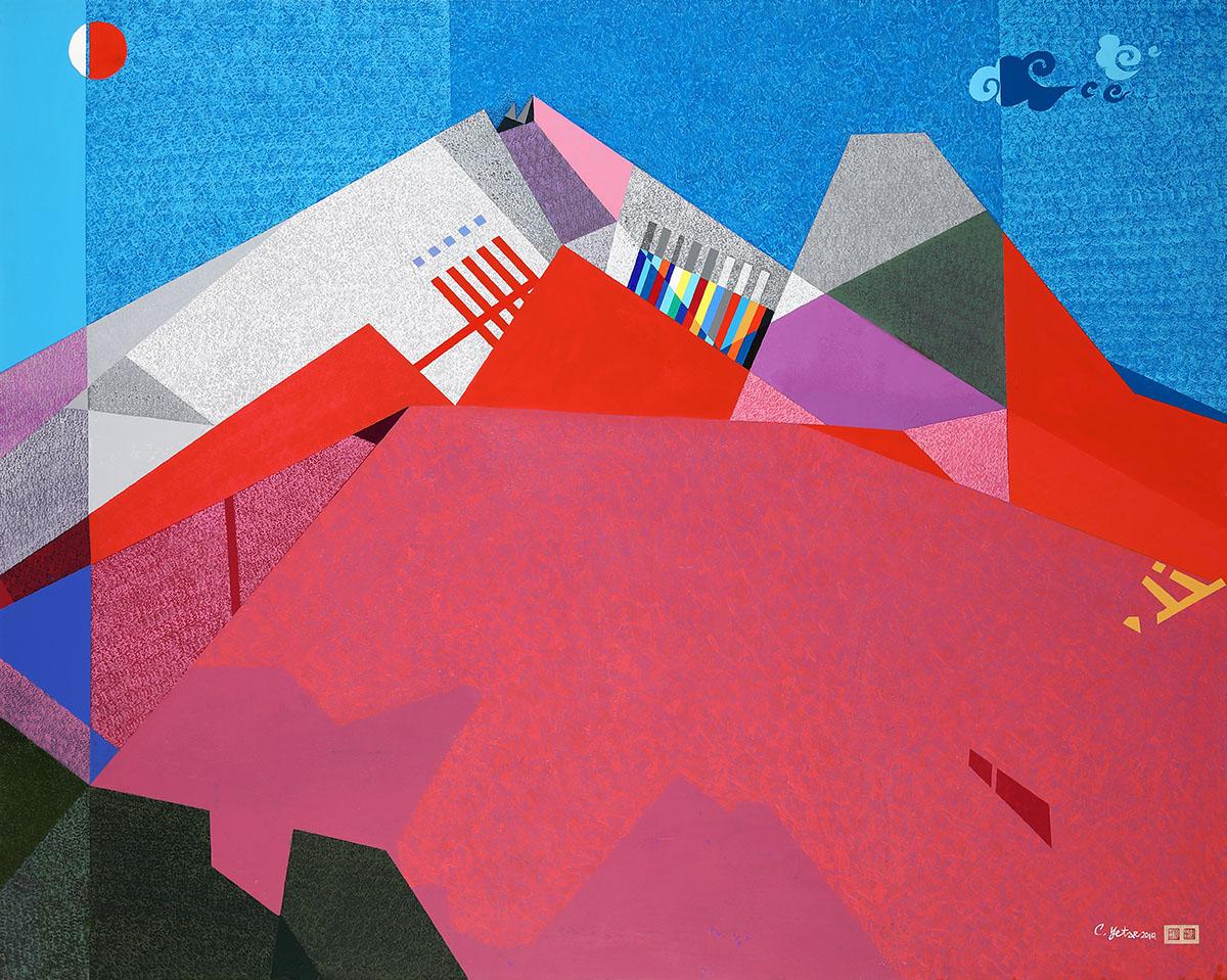 면과 색 그리고 리듬C︱162.2x130.3cm, Mixed media on canvas︱2019