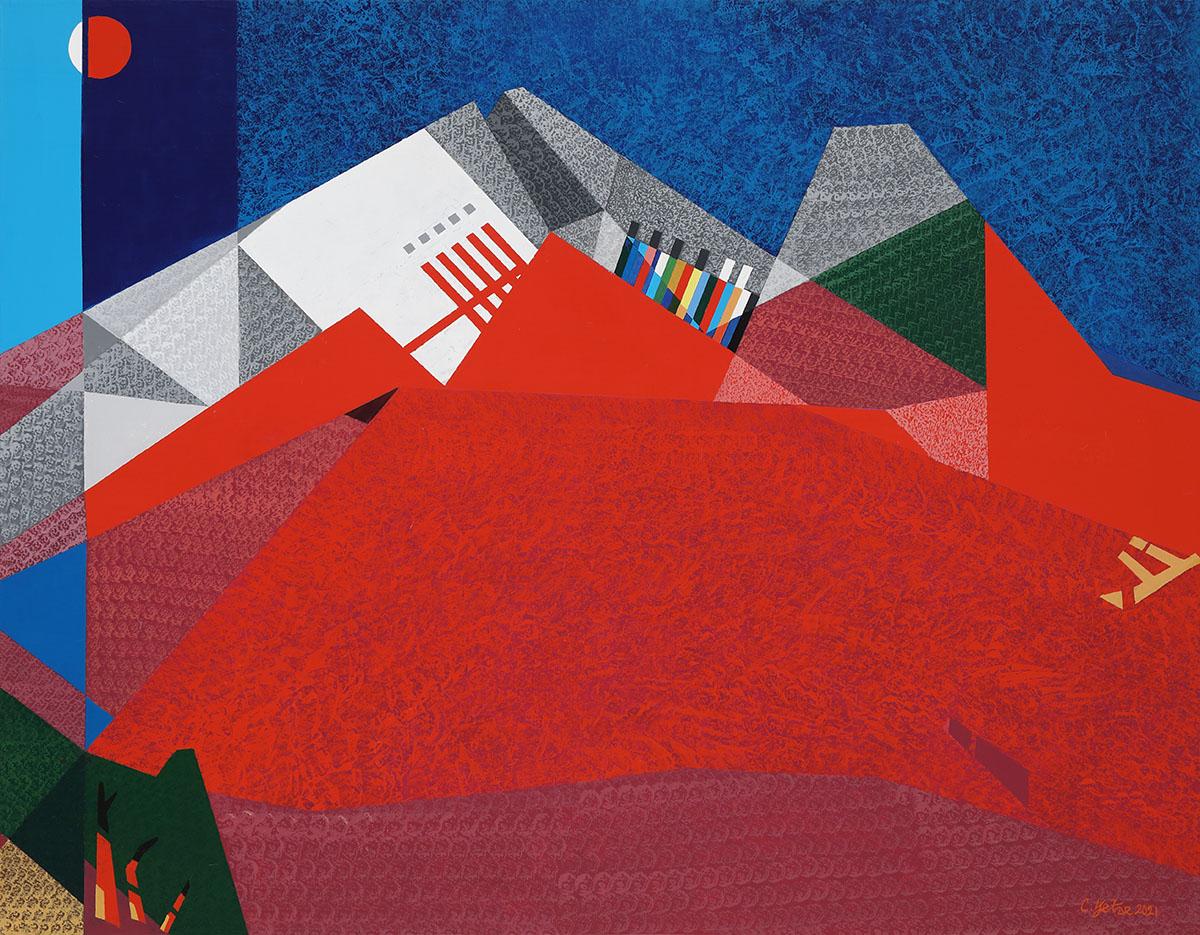 붉은산의 환타지A︱162.2x130.3cm, Mixed media on canvas︱2021