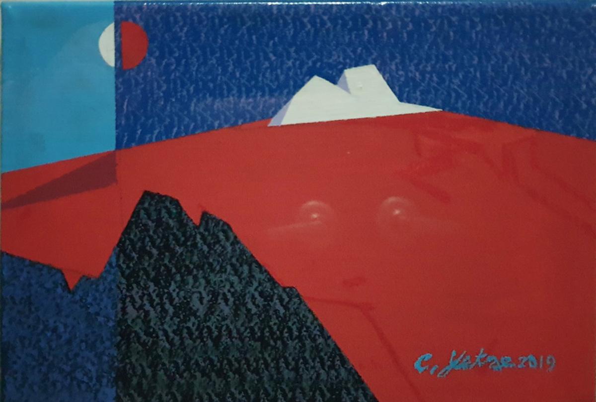 붉은산의 판타지︱22.7x15.6cm, Mixed Media on canvas