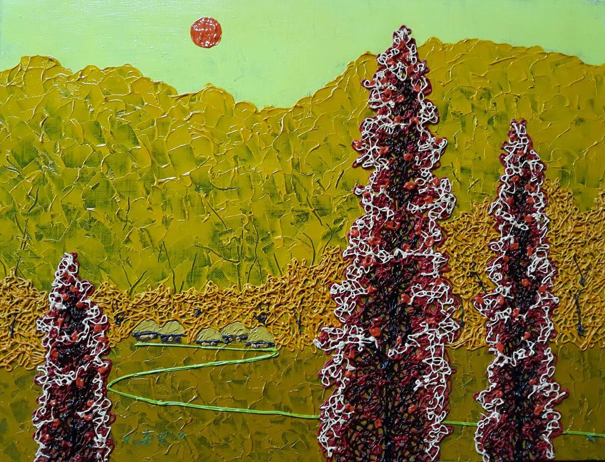 초가집︱53.0x40.9cm, Mixed media on canvas︱2010