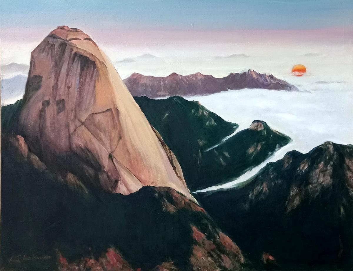 인수봉 해맞이︱116.8x91.0cm, Oil on canvas︱2021