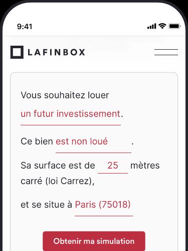 Écran simulateur de rendement locatif par LaFinBox