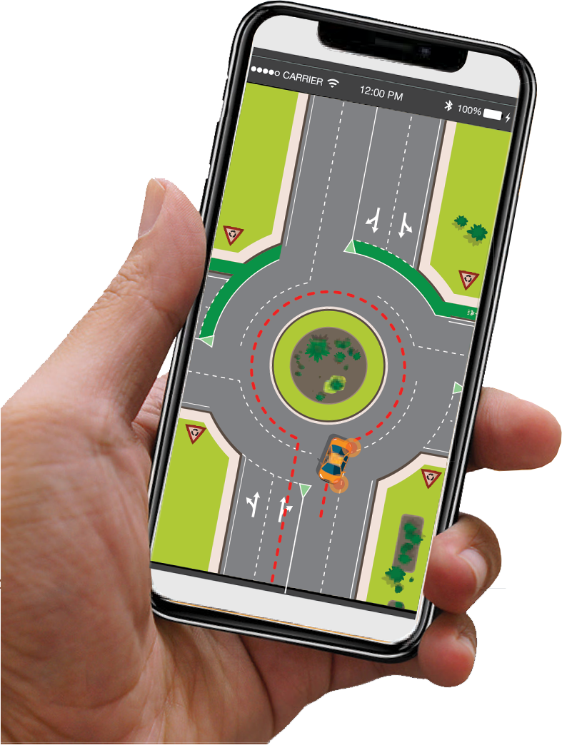 Hand holding phone with screenshot of DriveAbout application