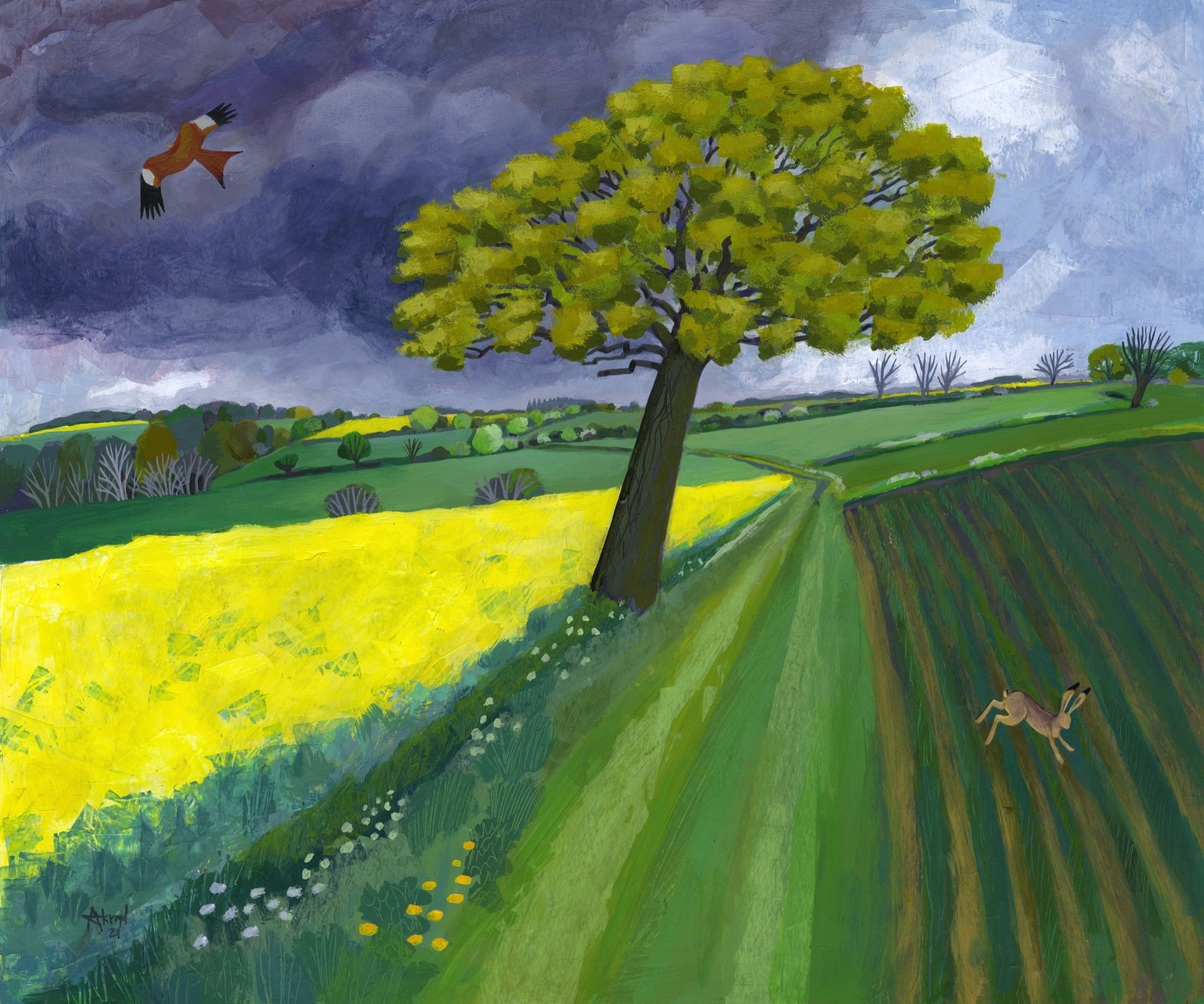 Painting representing a field with a tree in the middle.