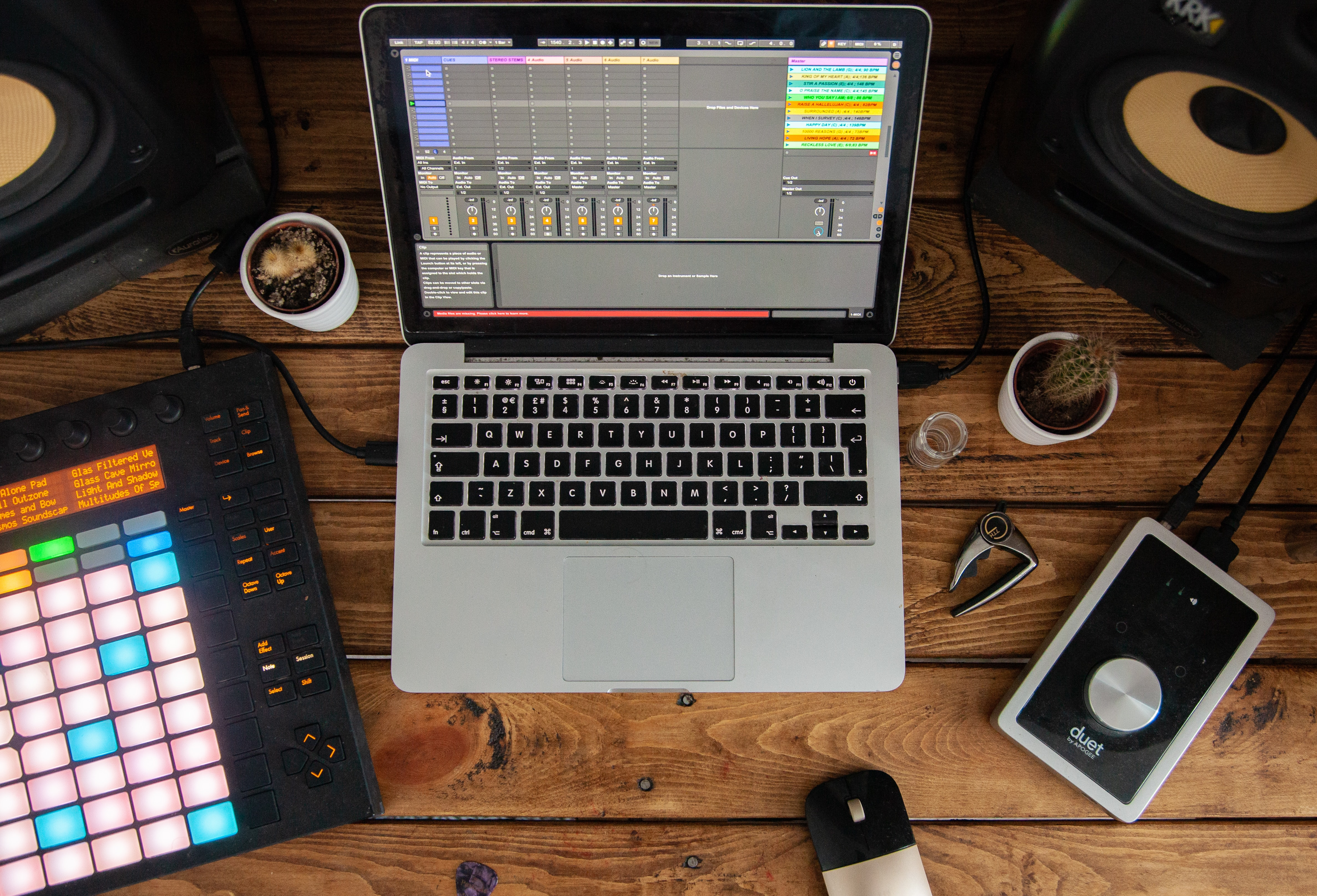 Laptop and other home music recording equipment.