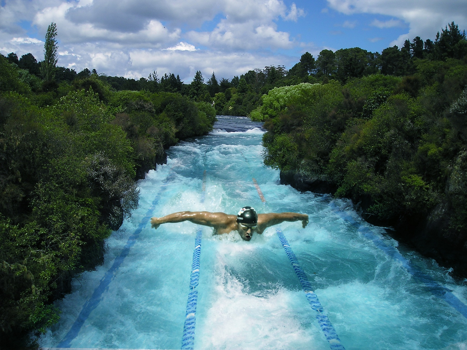 image of cometitive swimmer in pool superimoposed in valley of trees