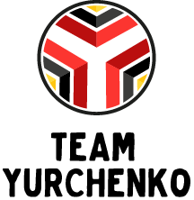 CITY Club Team Yurchenko logo- medallian with red, black, and gold chevrons.