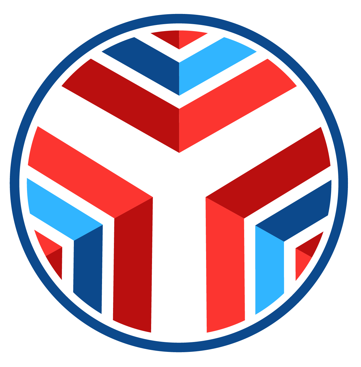 CITY CLub logo: Medaillion with blue, red, and white chevrons.