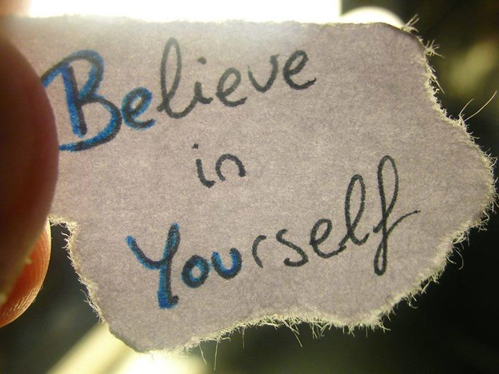 picture of a piece of paper that says Believe in Yourself.  The BE from believe and YOU from yourself, stand out as BE YOU