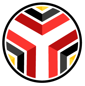 Red, Gold, black, and white circular logo with a central  white Y built out by colored chevrons giving it a sense of flow