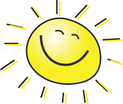 A hand drawn picture of a bright yellow smiling sun