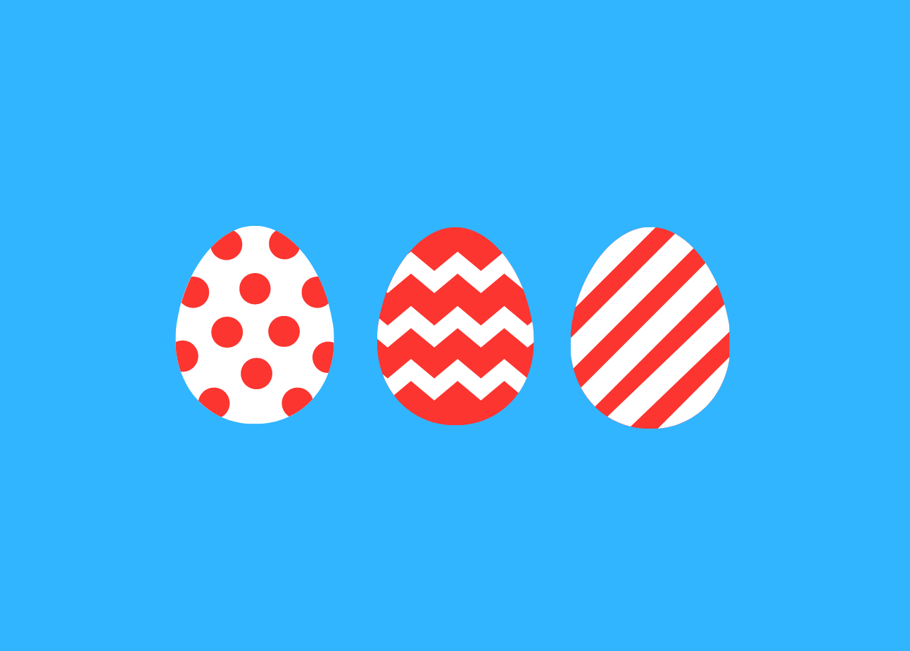 3 easter eggs in white and red design with a blue background