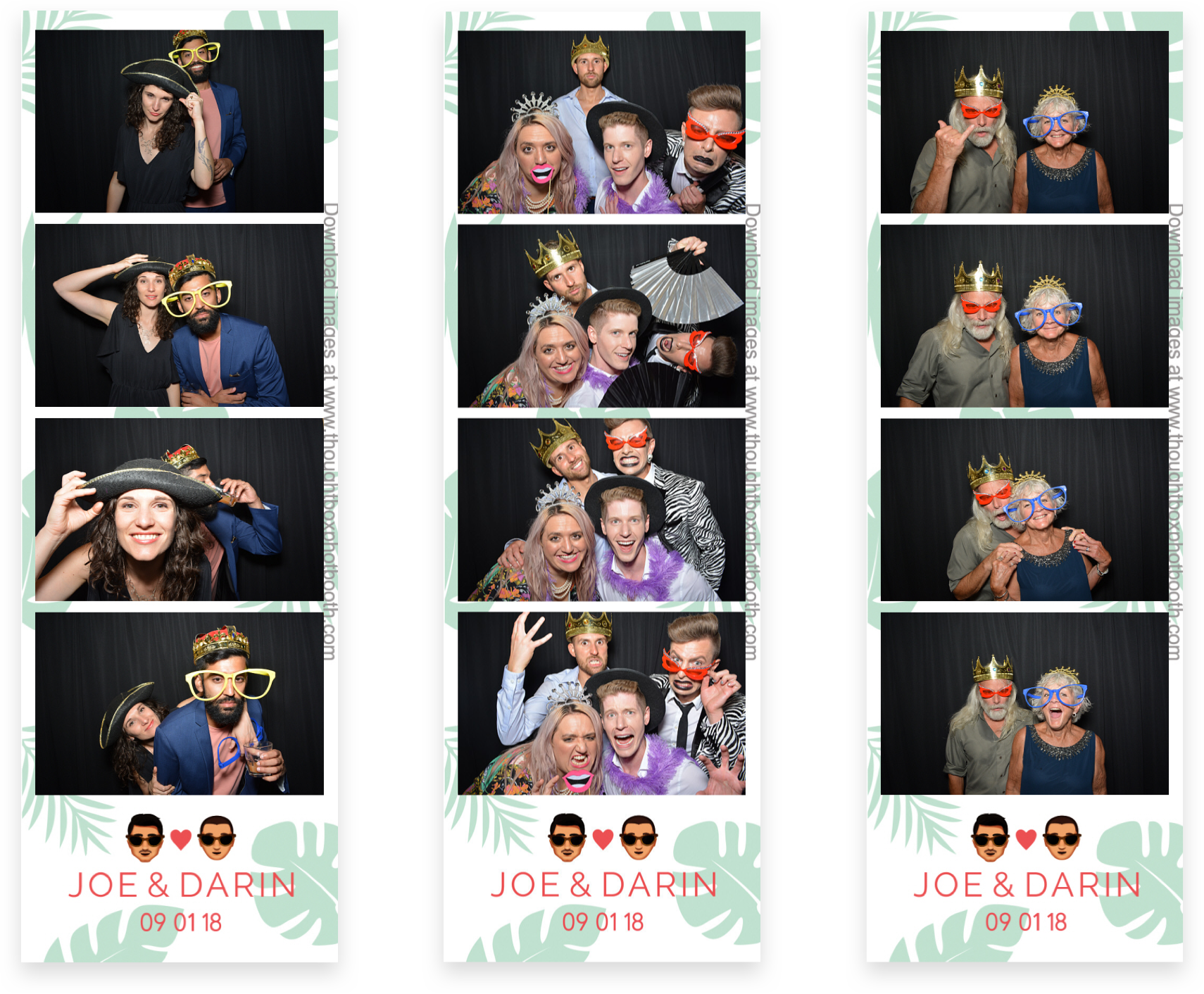 Three photo strips of silly people featuring the wedding design applied