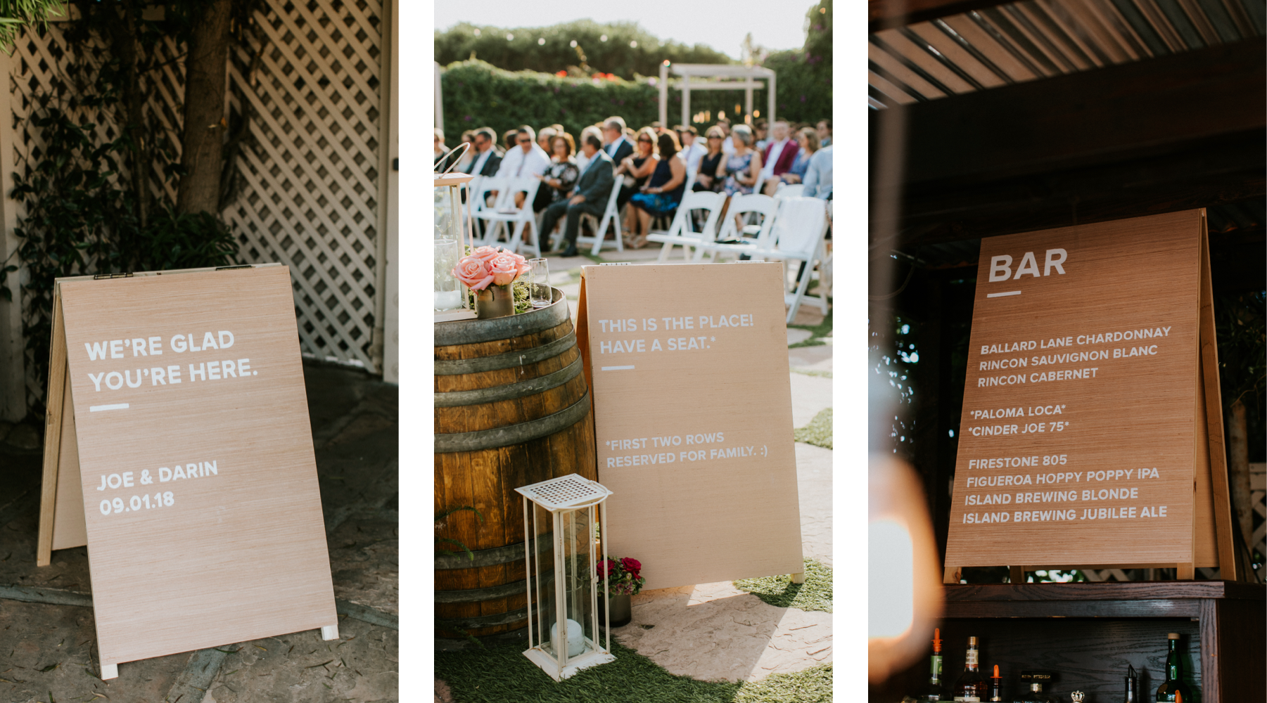 Photos of wedding signs displayed at the ceremony and over the bar