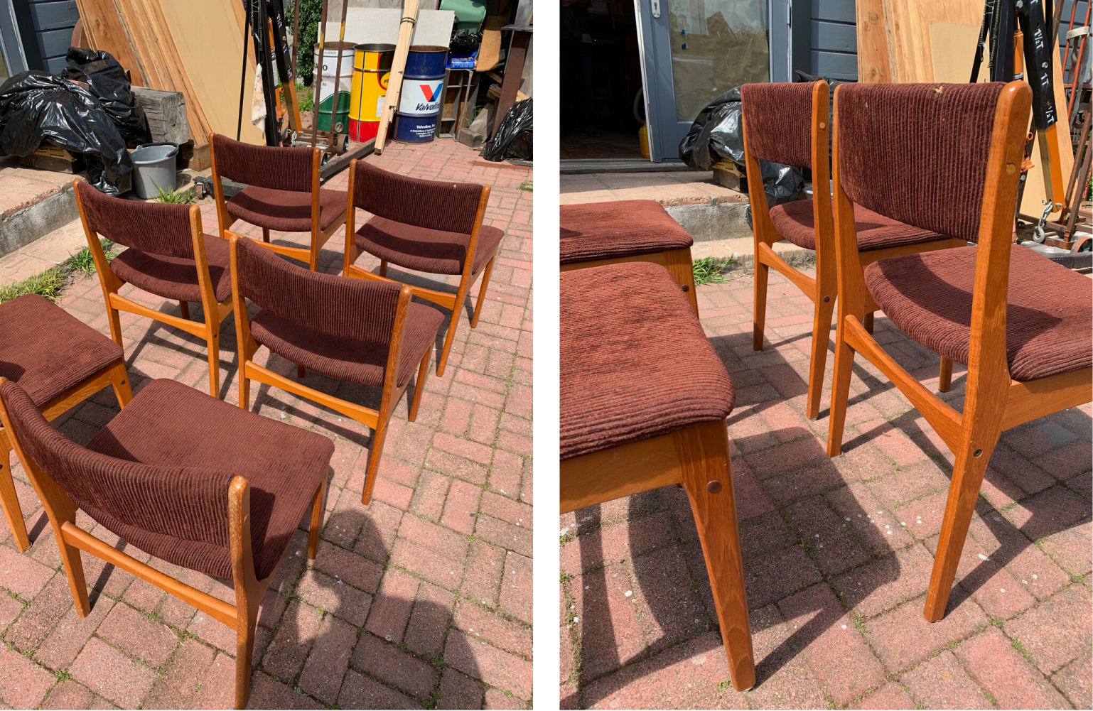 Photos of six used mid-century dining chairs with ratty burgundy upholstery