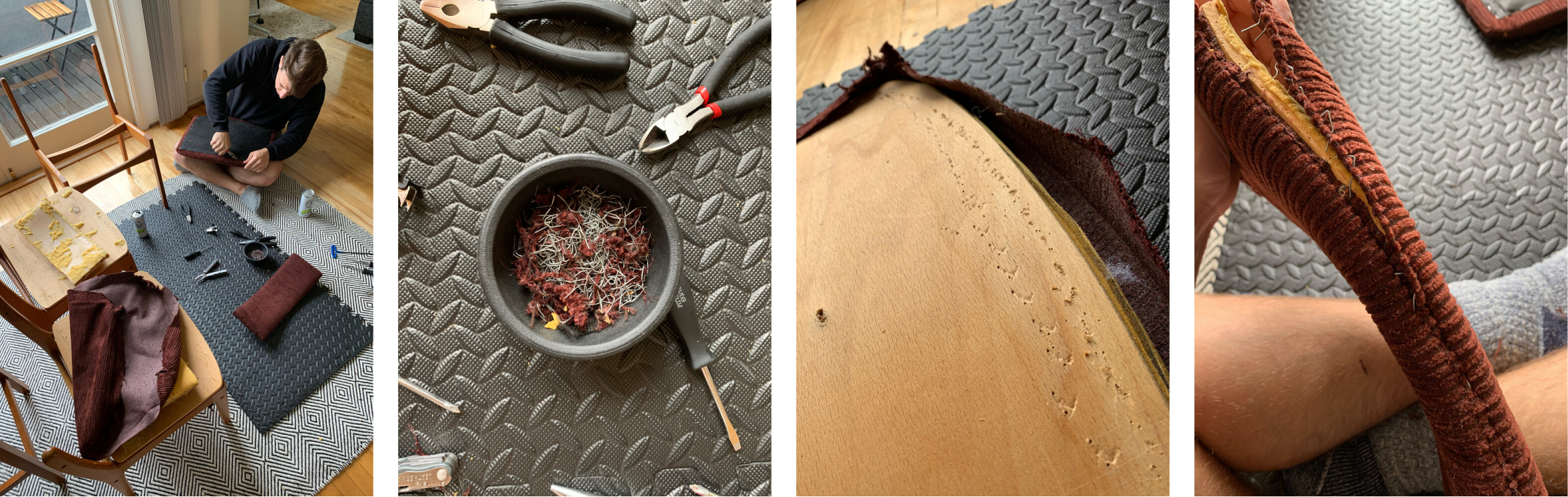 Photos showing removing staples and fabric from chair seats and seat backs