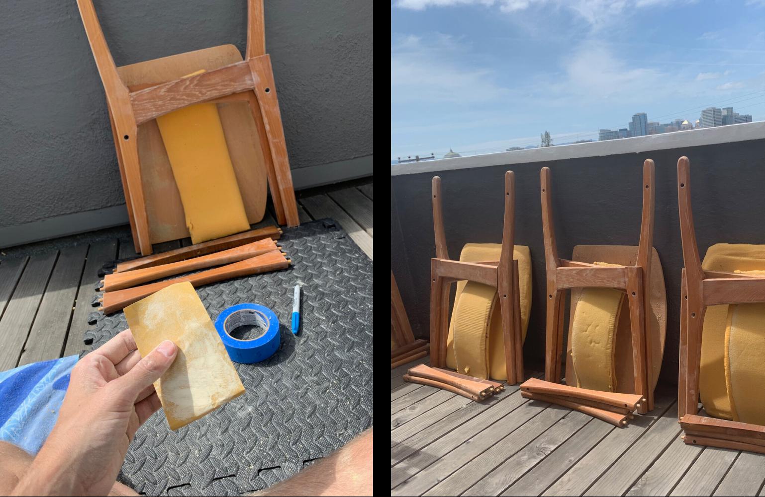 Photos of chair wood sanding process