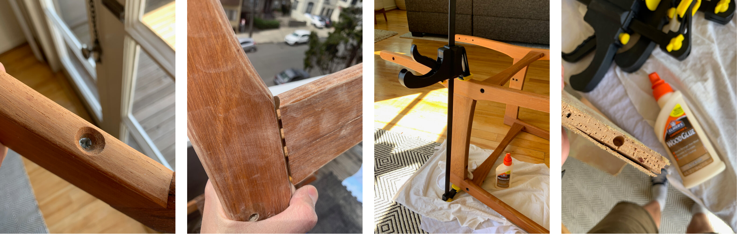 Photos showing various repairs of chair parts, using clamps and glue