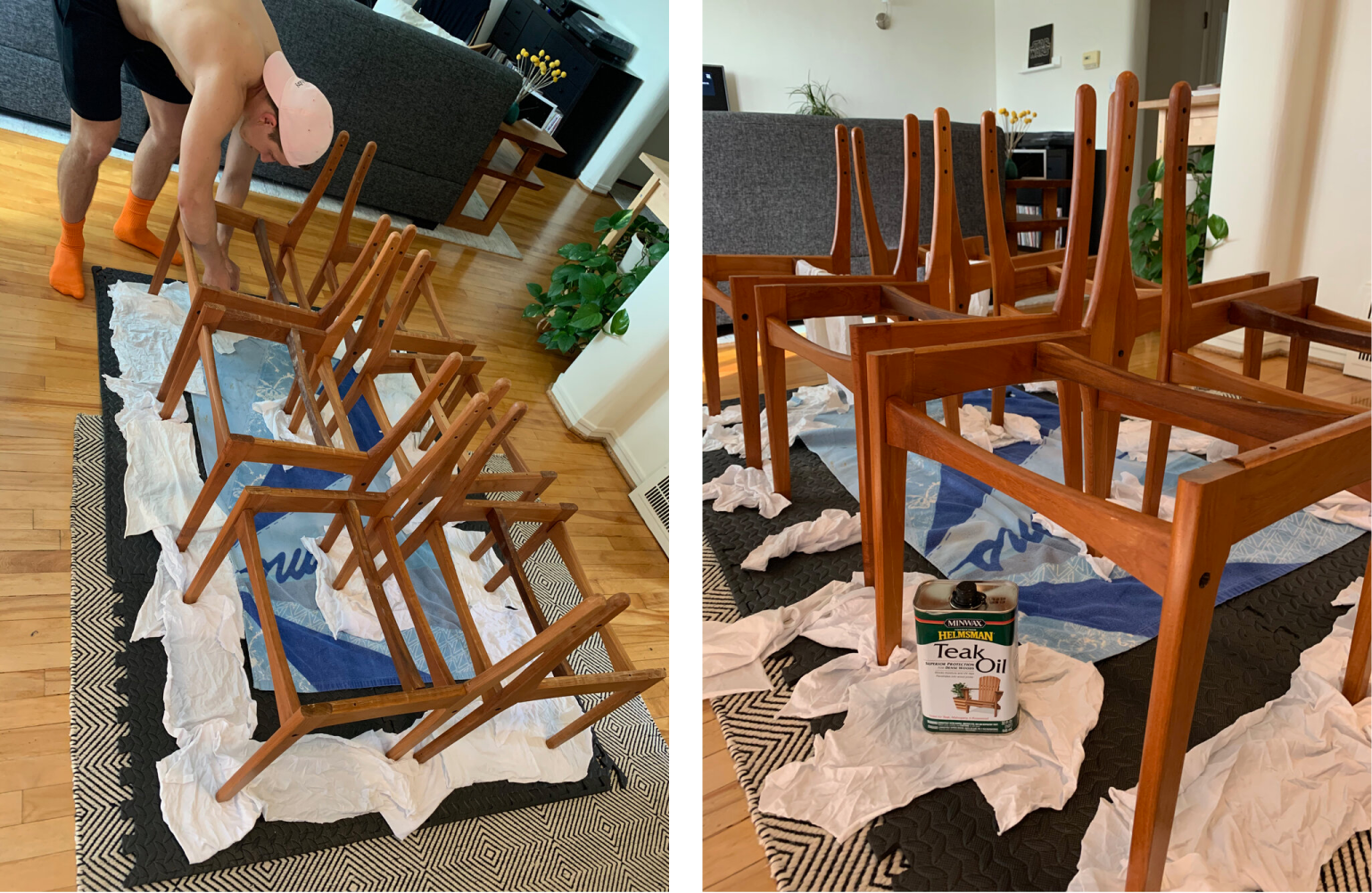 Photos showing chair frames sitting on towels as teak oil is applied