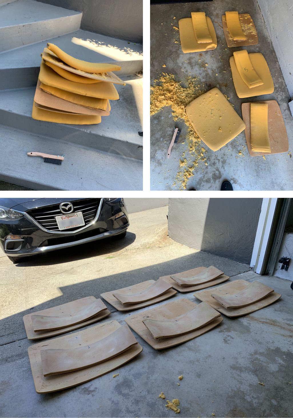 Photos showing chair seats and seat backs with old yellow foam being removed