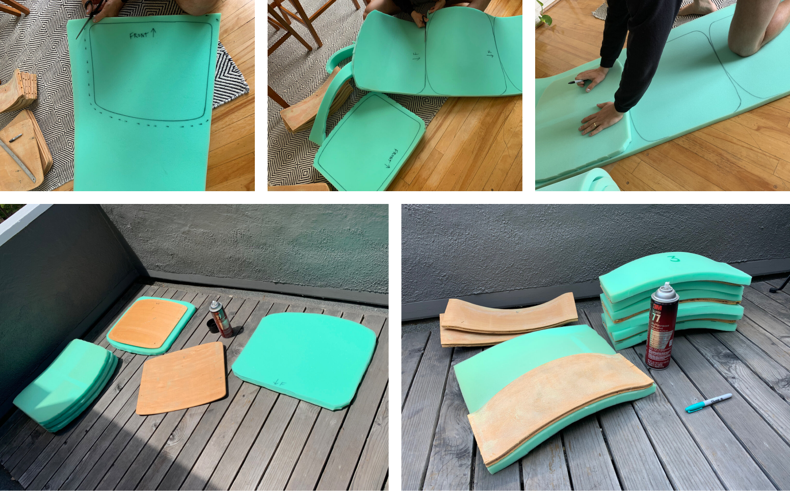 Photos showing new green foam being cut out and applied to chair seats and seat backs