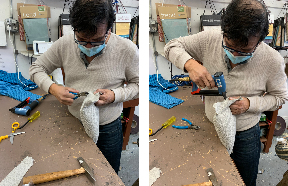 Two photos showing a man with tools working on chair seat back upholstery
