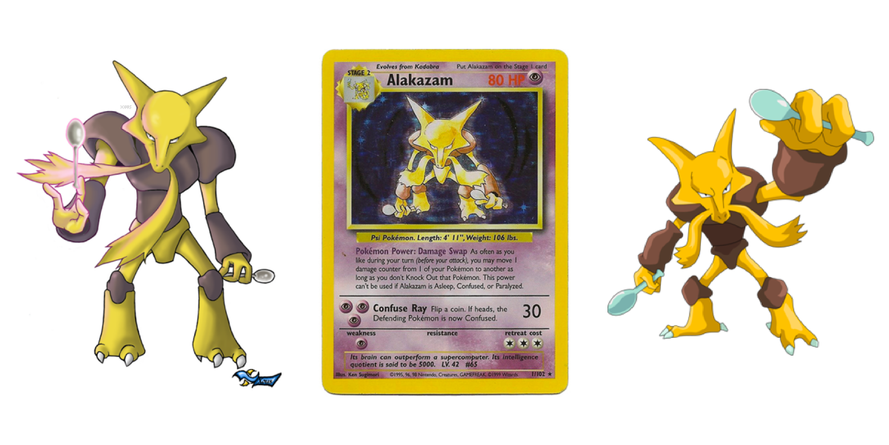 Cartoon illustrations of Alakazam with his card featured in the middle