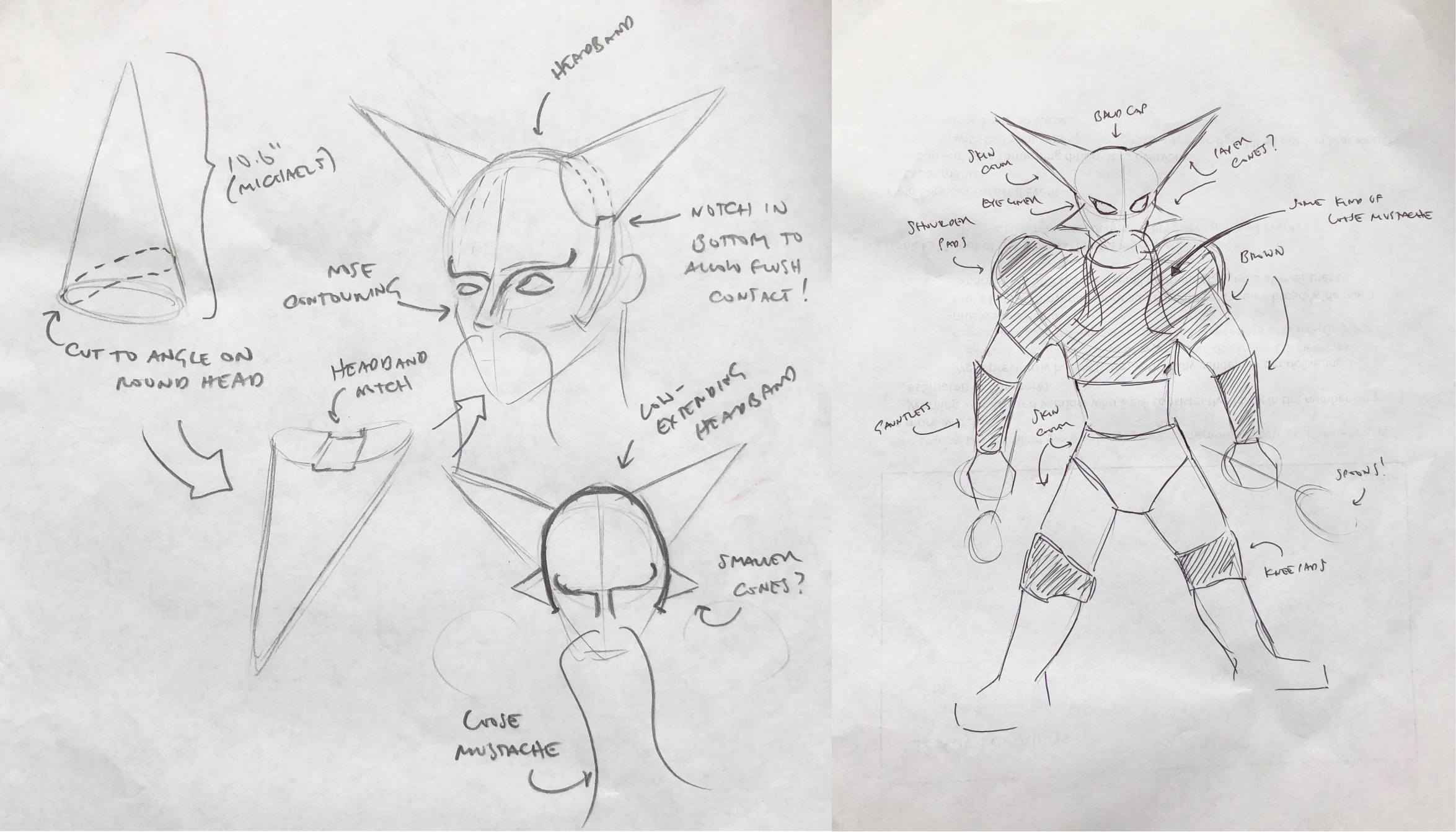 Sketches of mine showing planning out the Alakazam Halloween costume
