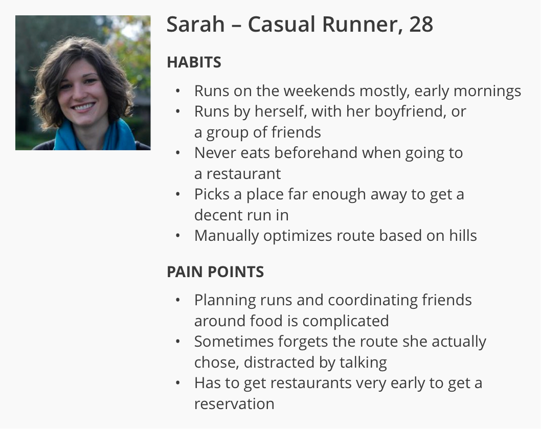 The target persona was Sarah, a 28-year-old casual runner and socialite