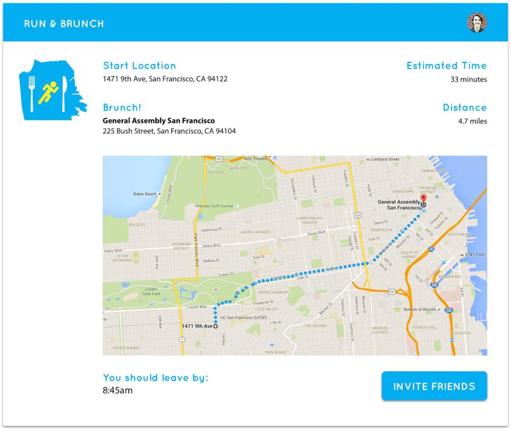 Main screen of the app, showing start and end points of the run with the brunch destination selected