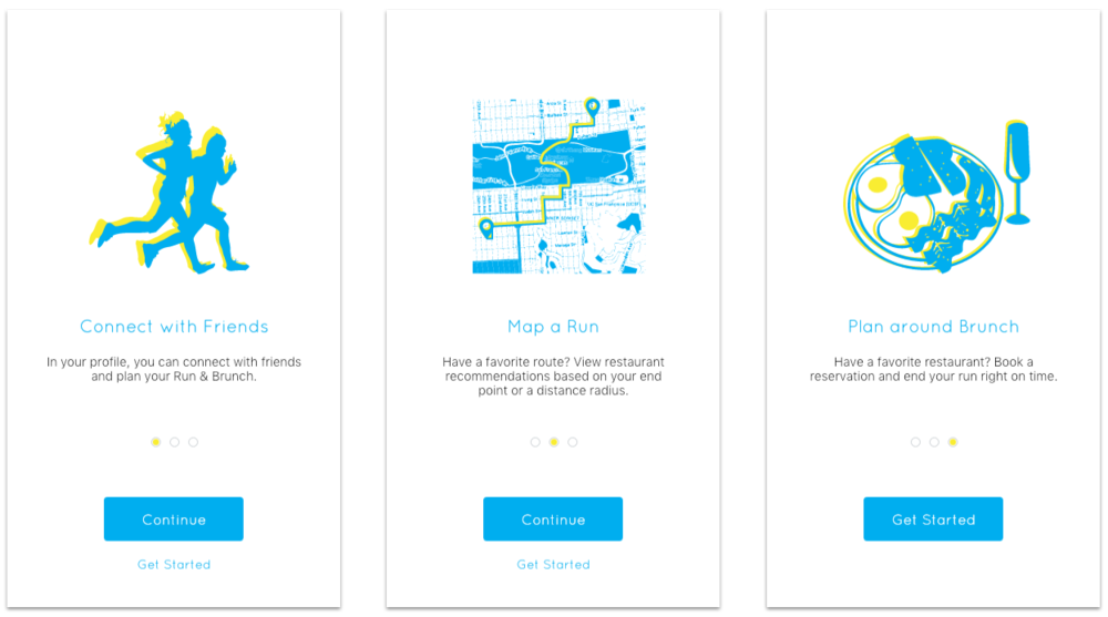 Mockups of the three pages that form the educational onboarding flow