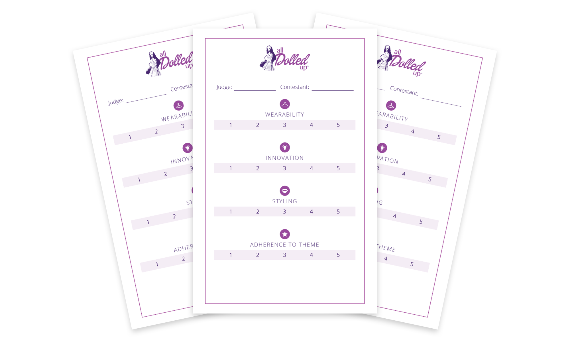 Custom branded scorecards featured the four categories: Wearability, Innovation, Styling, and Adherence to Theme.