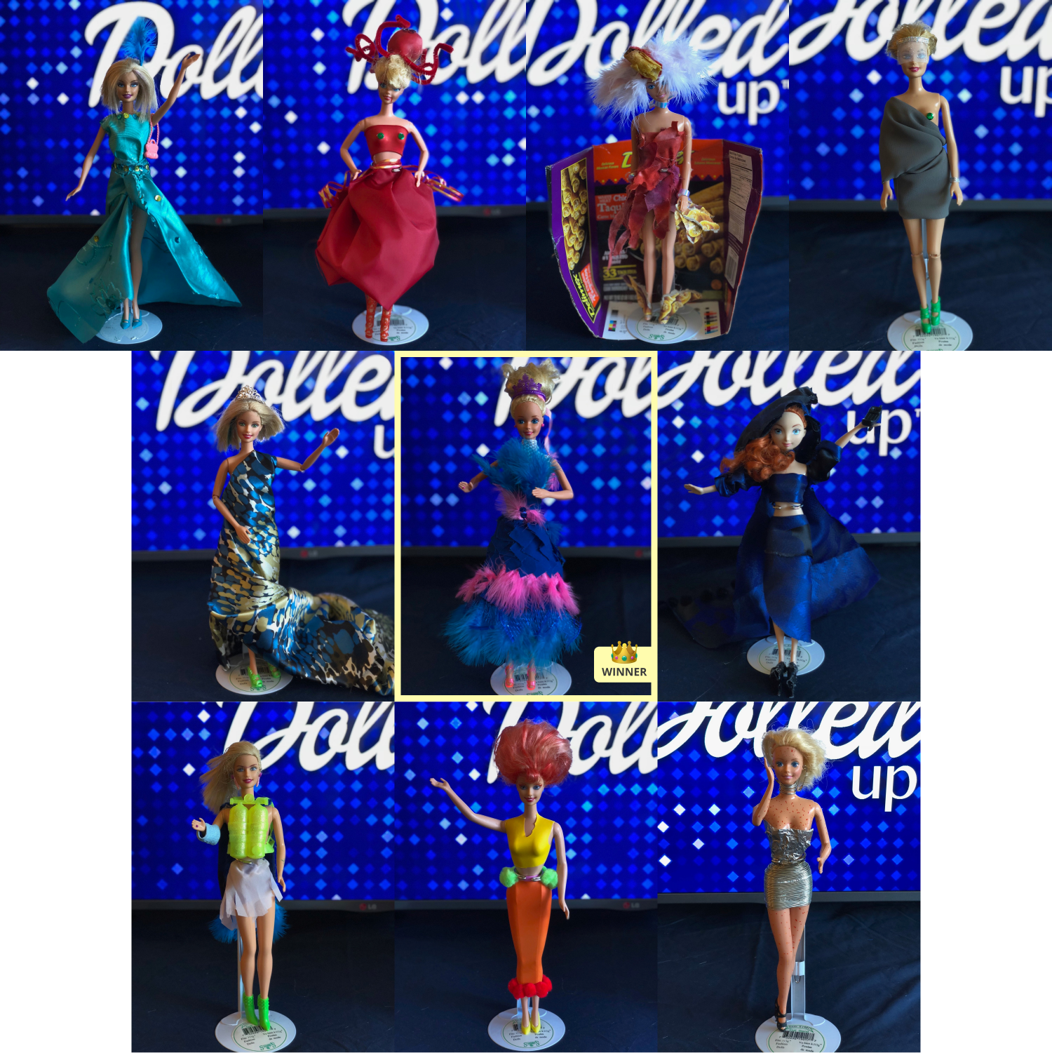 A grid showing the 10 Barbie finalists in their crafted looks, with the winner in the middle